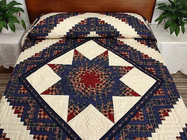 King Navy Burgundy and Tan Lone Star Log Cabin Quilt Photo 1