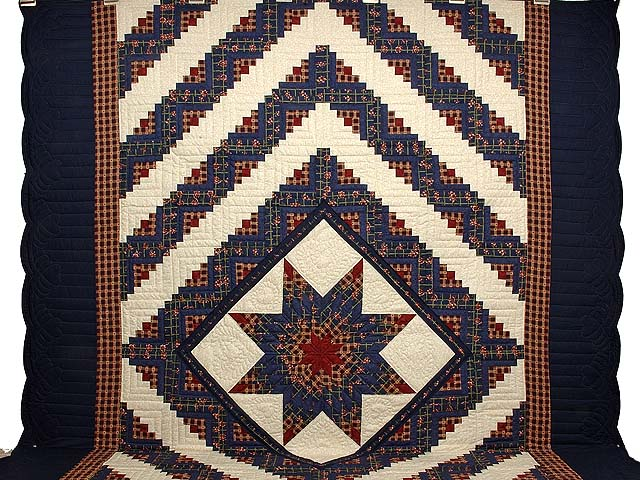 King Navy Burgundy and Tan Lone Star Log Cabin Quilt Photo 2