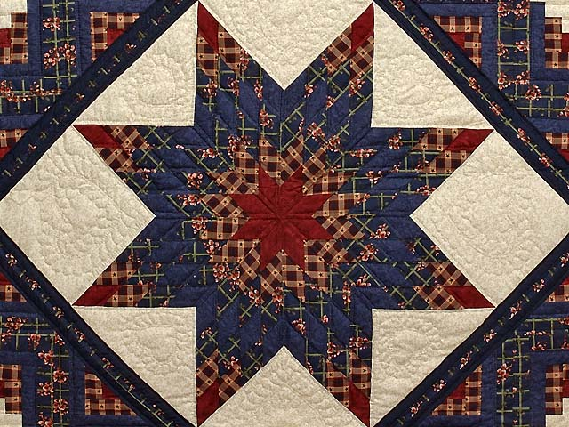 King Navy Burgundy and Tan Lone Star Log Cabin Quilt Photo 3
