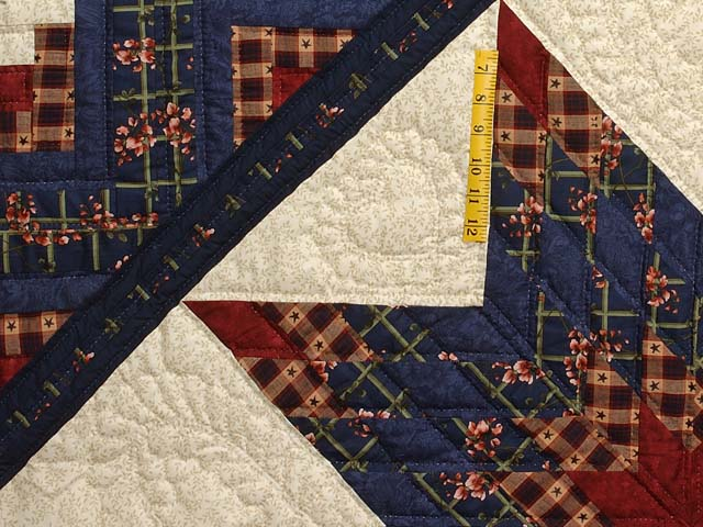 King Navy Burgundy and Tan Lone Star Log Cabin Quilt Photo 4