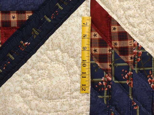 King Navy Burgundy and Tan Lone Star Log Cabin Quilt Photo 5