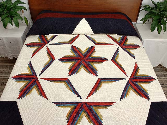 King Navy Burgundy and Multicolor  Diamond Star Log Cabin Quilt Photo 1