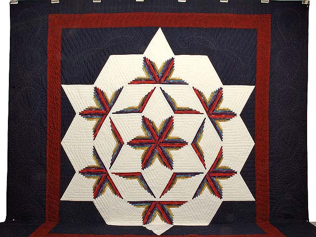King Navy Burgundy and Multicolor  Diamond Star Log Cabin Quilt Photo 2