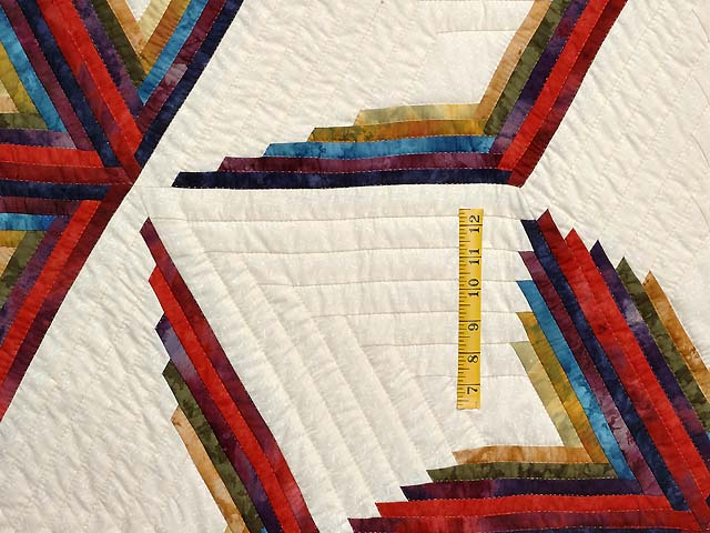 King Navy Burgundy and Multicolor  Diamond Star Log Cabin Quilt Photo 4