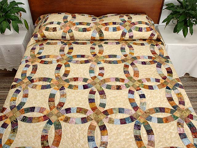 King Hand Painted Double Wedding Ring Quilt Photo 1