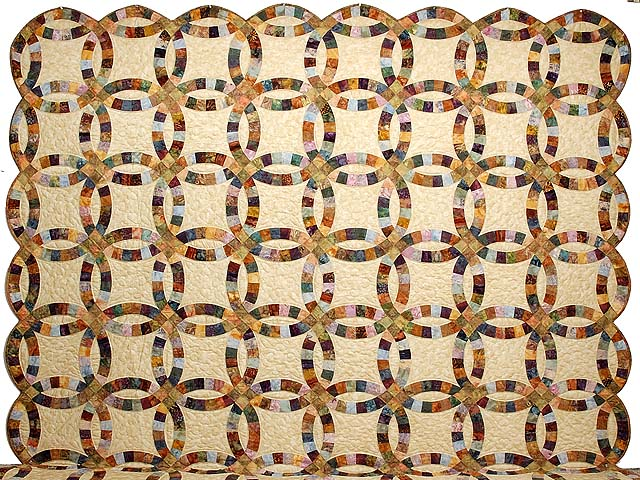 King Hand Painted Double Wedding Ring Quilt Photo 2