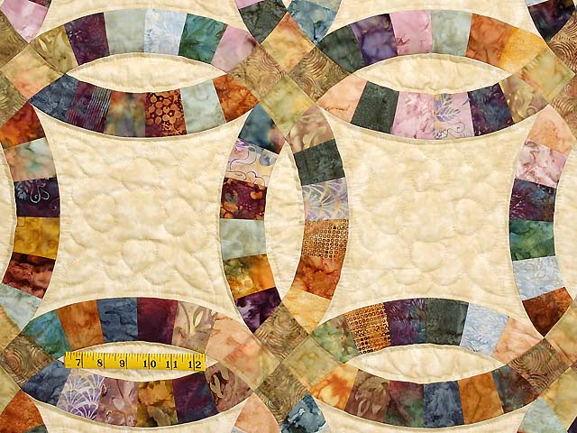 King Hand Painted Double Wedding Ring Quilt Photo 4