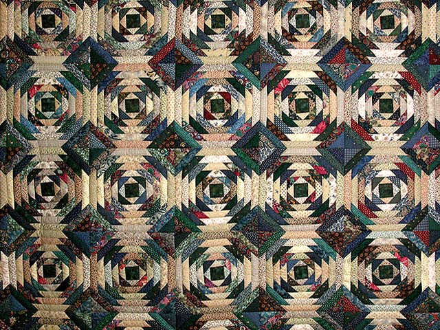 Green And Earth Tone Pineapple Quilt Photo 3