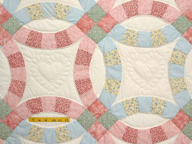 Pastel Pink and Blue Double Wedding Ring Quilt Photo 4