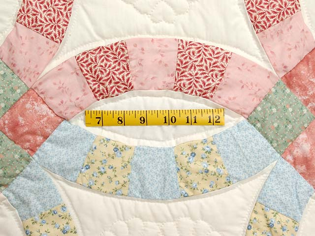 Pastel Pink and Blue Double Wedding Ring Quilt Photo 5