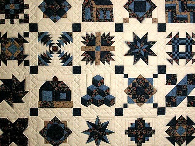 Navy and Beige Patchwork Sampler Quilt Photo 3