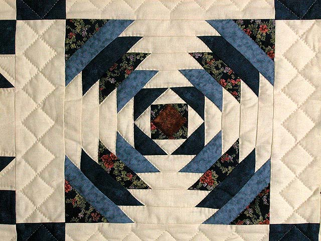 Navy and Beige Patchwork Sampler Quilt Photo 4