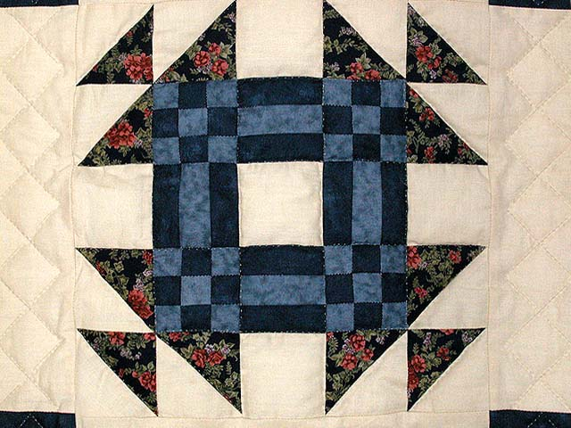 Navy and Beige Patchwork Sampler Quilt Photo 6