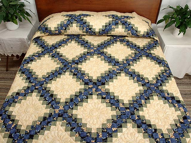 Blue Green and Tan Triple Irish Chain Quilt Photo 1