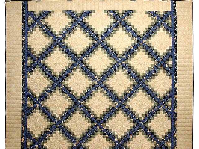 Blue Green and Tan Triple Irish Chain Quilt Photo 2