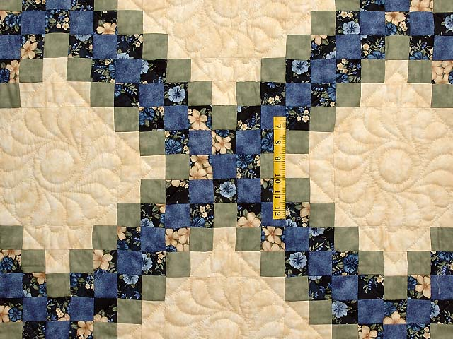 Blue Green and Tan Triple Irish Chain Quilt Photo 4