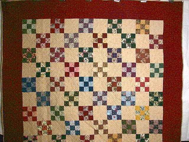 Burgundy and Multicolor Nine Patch Chain Quilt Photo 2