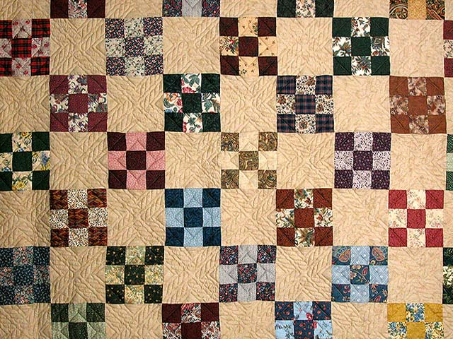 Burgundy and Multicolor Nine Patch Chain Quilt Photo 3