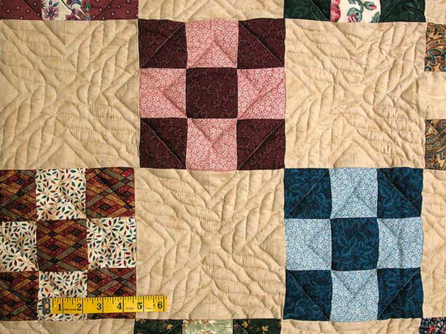 Burgundy and Multicolor Nine Patch Chain Quilt Photo 4