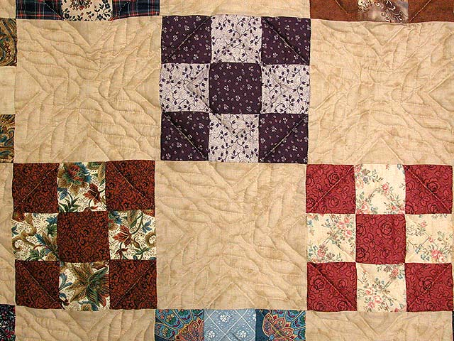 Burgundy and Multicolor Nine Patch Chain Quilt Photo 5