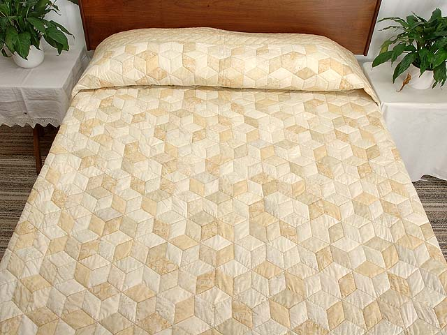 All Neutrals Tumbling Blocks Quilt Photo 1