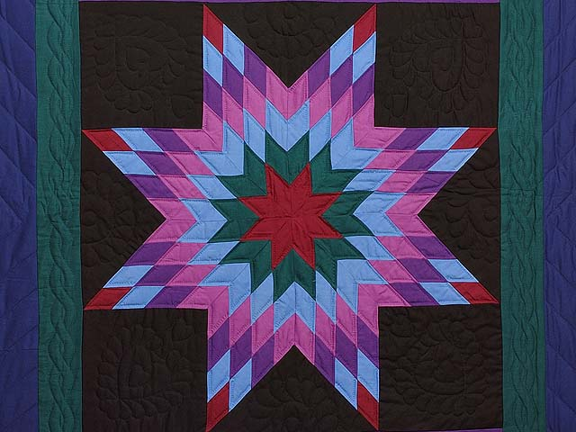 Twin Amish Lone Star Quilt Photo 3
