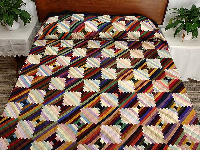 King Almost Amish Log Cabin on the Point Quilt Photo 1