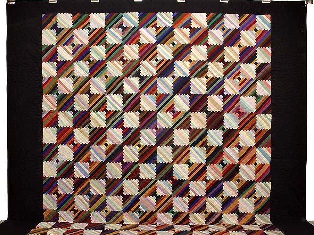 King Almost Amish Log Cabin on the Point Quilt Photo 2
