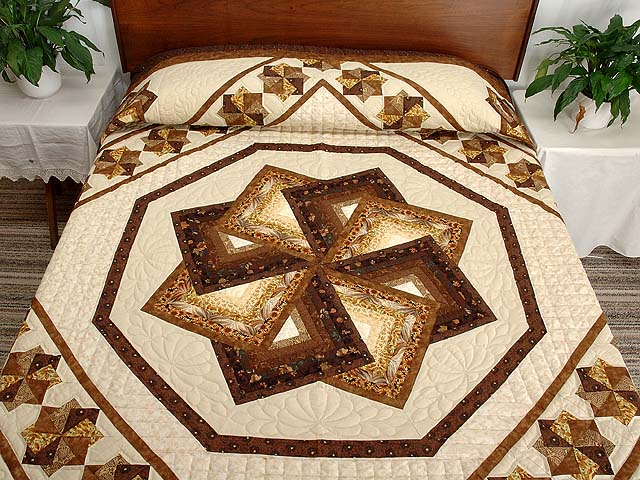 Brown and Gold Star Spin Quilt Photo 1