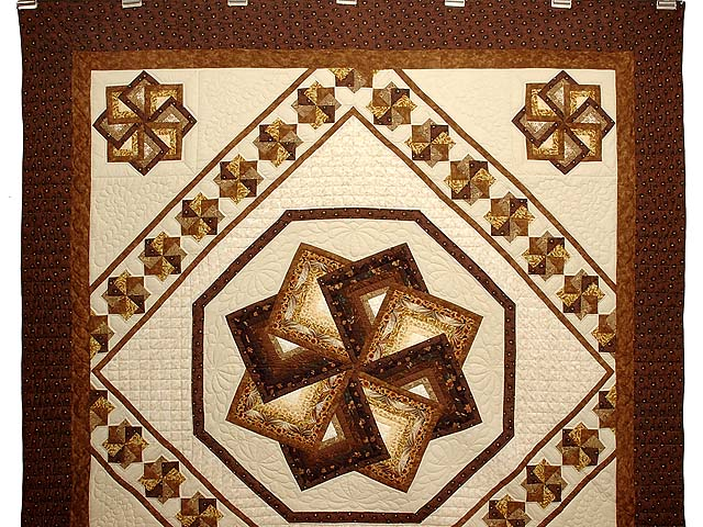 Brown and Gold Star Spin Quilt Photo 2