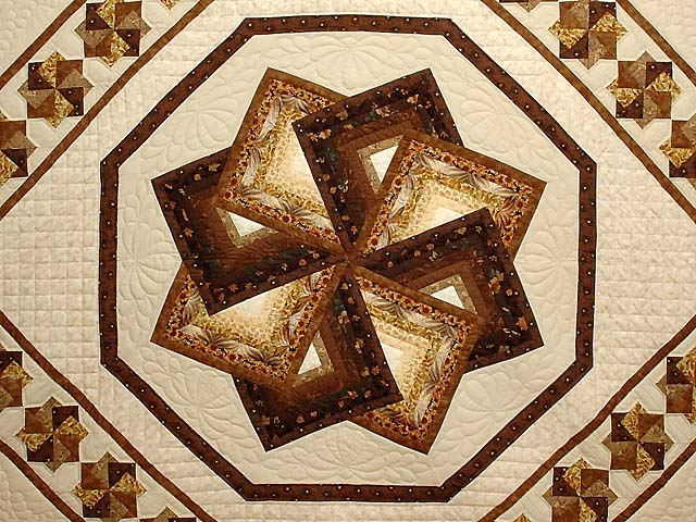 Brown and Gold Star Spin Quilt Photo 3