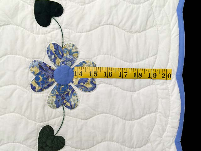 King Blue and Gold Heart Bouquet Quilt Photo 7