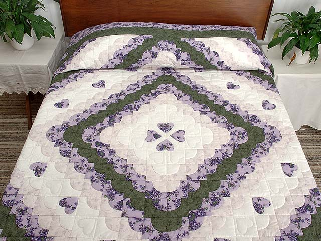 Lavender Green and Cream Ocean Wave with Hearts Quilt Photo 1