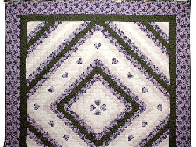Lavender Green and Cream Ocean Wave with Hearts Quilt Photo 2