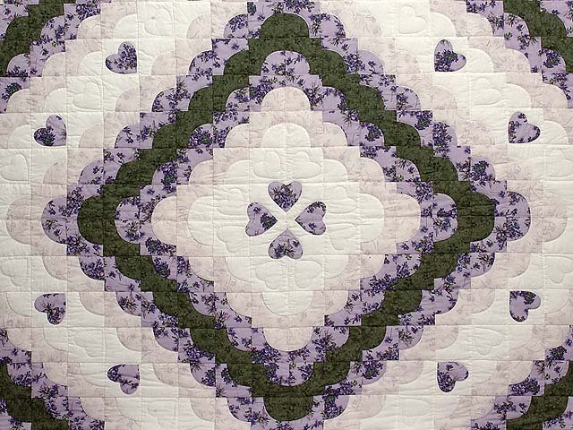Lavender Green and Cream Ocean Wave with Hearts Quilt Photo 3