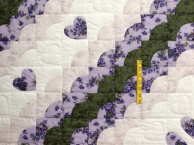 Lavender Green and Cream Ocean Wave with Hearts Quilt Photo 4