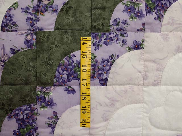 Lavender Green and Cream Ocean Wave with Hearts Quilt Photo 5