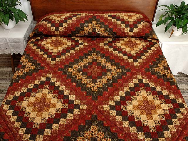 King Burgundy Gold and Green Mosaic Quilt Photo 1