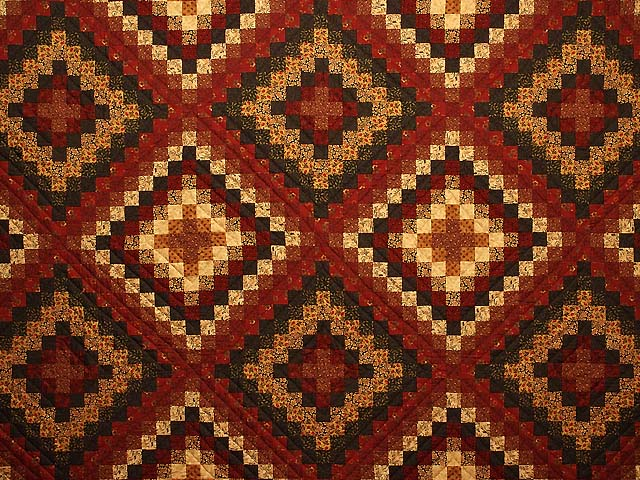 King Burgundy Gold and Green Mosaic Quilt Photo 3