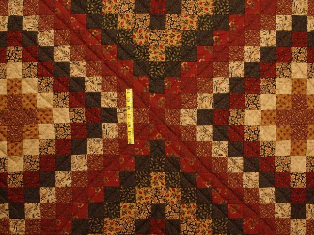 King Burgundy Gold and Green Mosaic Quilt Photo 4