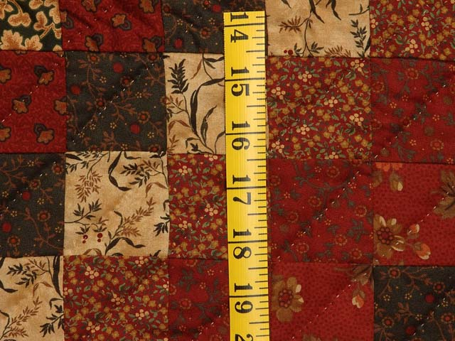 King Burgundy Gold and Green Mosaic Quilt Photo 5