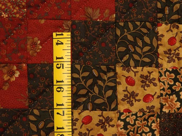 King Burgundy Gold and Green Mosaic Quilt Photo 6