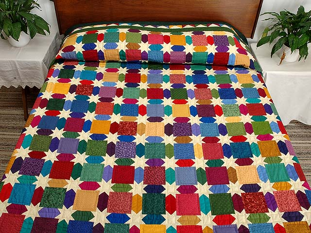 Green and Multicolor Starry Night Quilt Photo 1