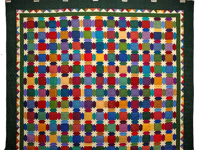 Green and Multicolor Starry Night Quilt Photo 2