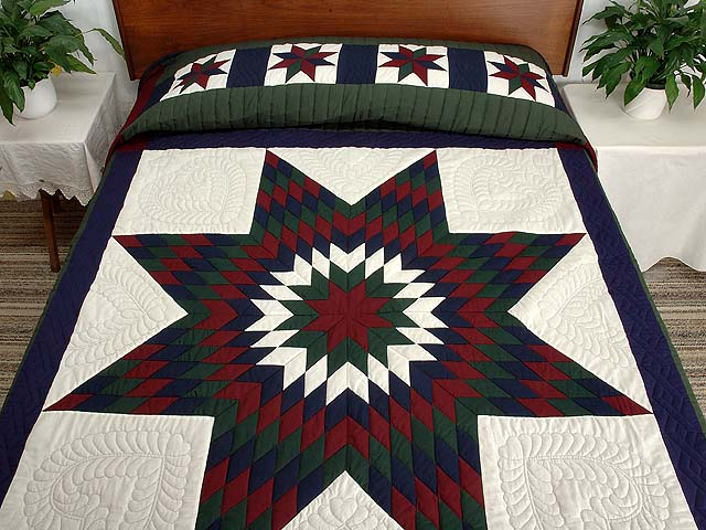 Amish Bright Lone Star Quilt Photo 1