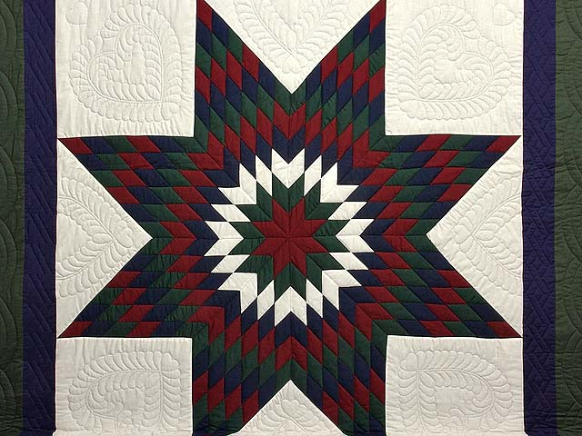 Amish Bright Lone Star Quilt Photo 3