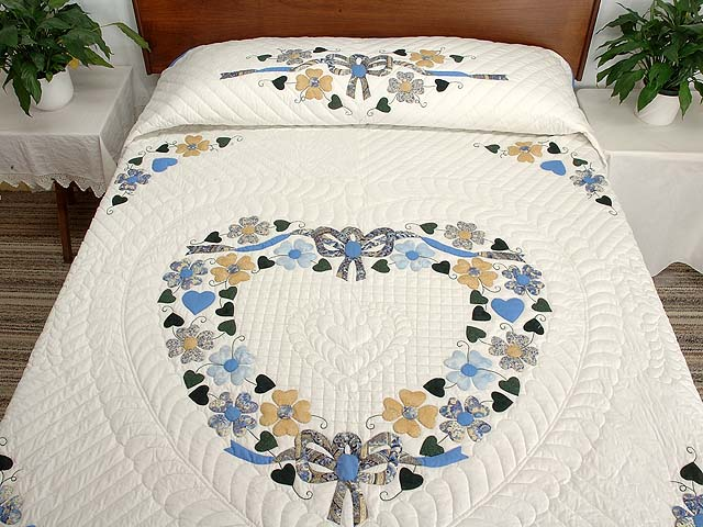 Blue Gold and Green Heart Bouquet Quilt Photo 1