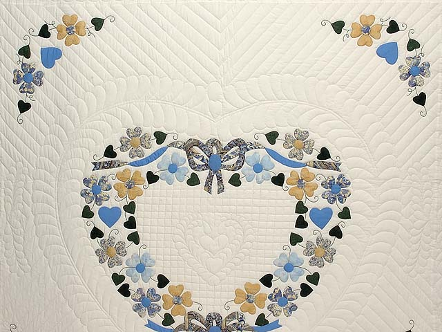 Blue Gold and Green Heart Bouquet Quilt Photo 3