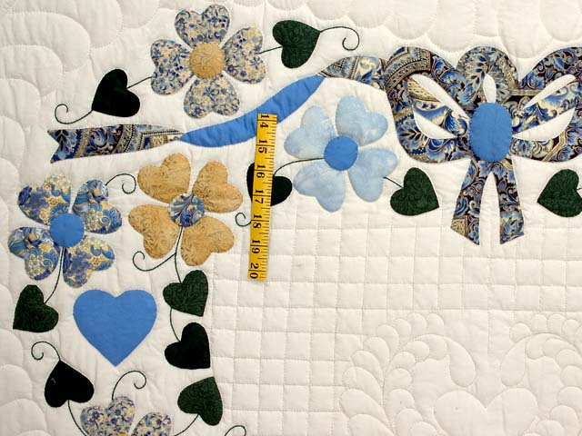 Blue Gold and Green Heart Bouquet Quilt Photo 5