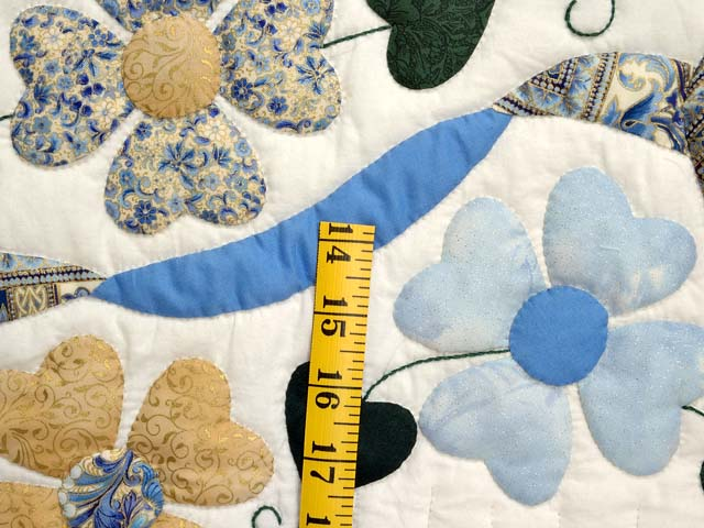 Blue Gold and Green Heart Bouquet Quilt Photo 6